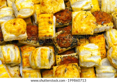 Savoury Pastry Buffet Selection of Mini Pastries - stock photo