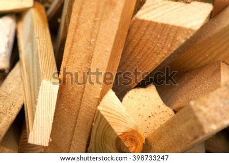 Saw blade and sawdust shot on grainy pine. carpenter working - stock photo