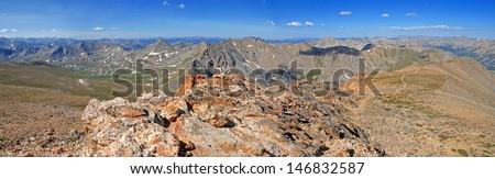 Sawatch Range from Huron Peak,  Rocky Mountains, Colorado - stock photo