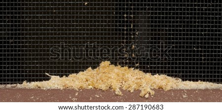 Sawdust, or frass, left on porch deck by a wood boring carpenter ant - stock photo