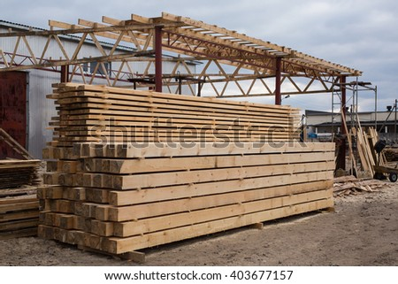 sawmill, wood processing, timber drying, timber harvesting, drying boards, baulk, lumber-mill, wood products industry, production of forest products, hydrothermal treatment of wood   - stock photo