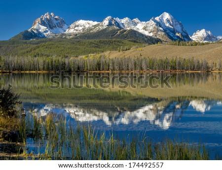 Sawtooth mountain range of Idaho and little redfish lake - stock photo