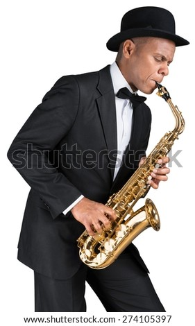 Sax, melody, handsome. - stock photo