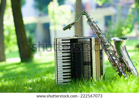 saxophone and accordion in the nature - stock photo