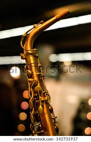 saxophone detail lights - stock photo