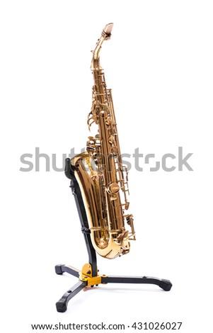 Saxophone - Golden alto saxophone classical instrument isolated on white - stock photo