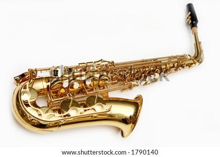 Saxophone isolated over white - stock photo