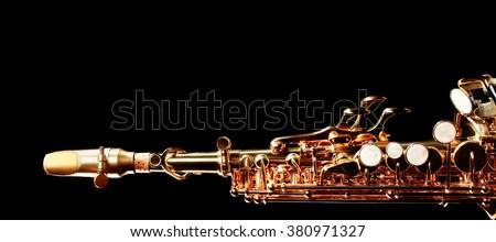 Saxophone jazz music instrument Soprano saxophone isolated on black Sax closeup - stock photo