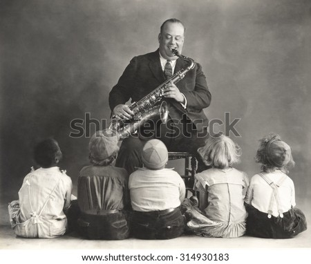 Saxophone lessons - stock photo