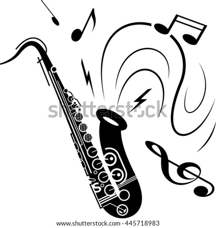 Saxophone music illustration black on white. Black saxophone with music notes spraying out of instrument. Image of saxophone music playing.  - stock photo