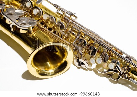 saxophone.musical instrument on white background - stock photo