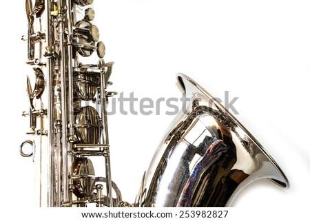 Saxophone on white background - stock photo