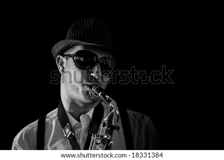Saxophonist Series: Close-up of the musician with cool sunglasses - stock photo