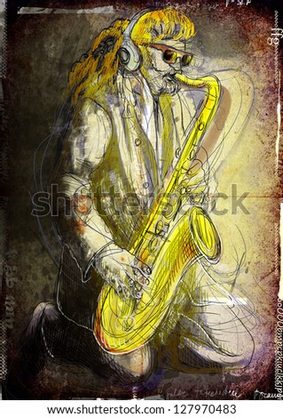 Saxophonist, whole body and soul. /// A hand drawn illustration of an excellent sax player. /// Color version on old grunge background. - stock photo