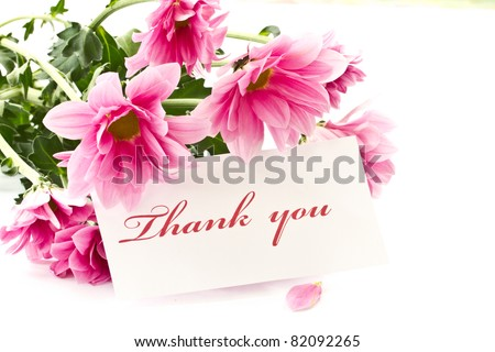 "say ""thank you"" on a background of beautiful flowers - stock photo"