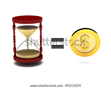 Sayings. Time is money. Hourglass and gold coin on white background. High quality 3d render. - stock photo