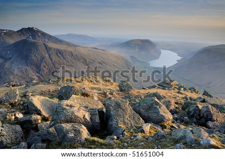 Scafell and Wasdale from Great Gable, English Lake District - stock photo