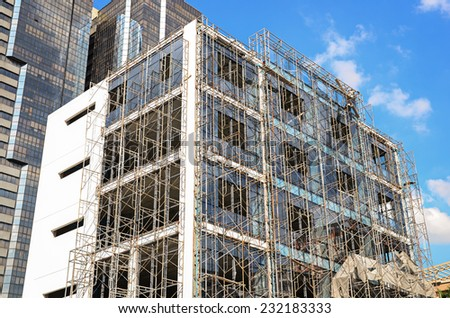 scaffold in construction site - stock photo