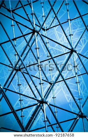 scaffolding,  construction site - stock photo