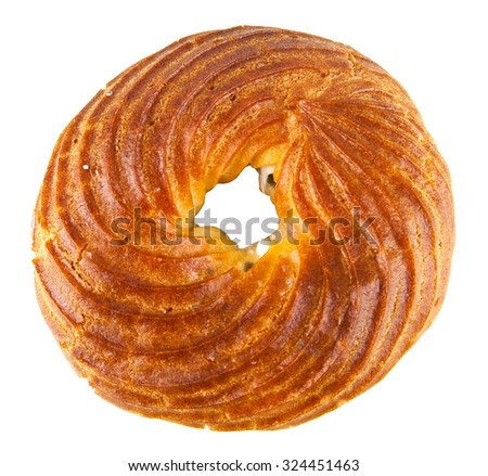 scalded cake in form bagel on a white background - stock photo