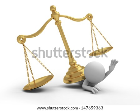 scale\A 3d person pressed by a scale/law - stock photo