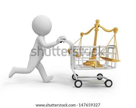 scale\A 3d person pushing a cart running, a scale in the cart - stock photo
