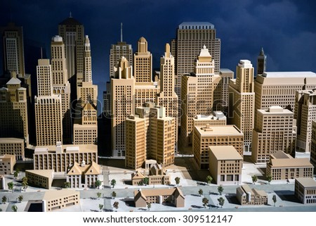 Scale model of a city showing the CBD with modern skyscrapers and high-rise commercial architecture, infrastructure and buildings - stock photo