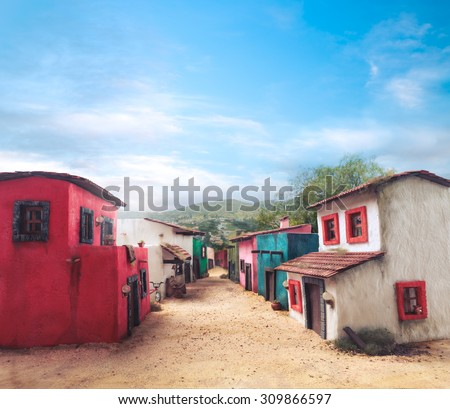 scale model of a mexican town - stock photo
