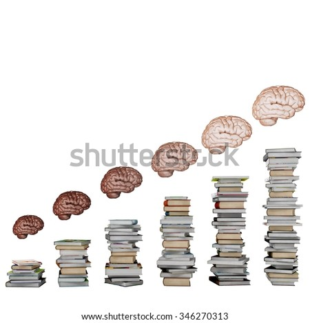 Scale of school books with brains above - stock photo