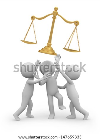 scale\Three 3d people snatching the scale/justice - stock photo