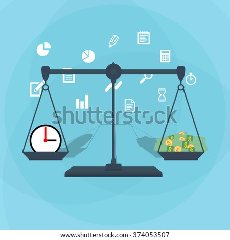 Scale weighing money and time - stock photo