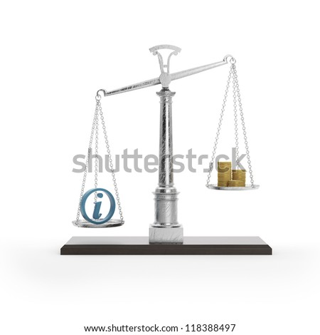 Scale with information symbol - stock photo