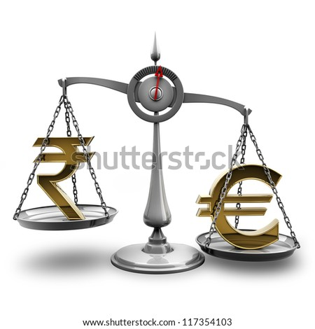 Scale with symbols of currencies Euro vs Indian rupee isolated on white background High resolution 3d render - stock photo