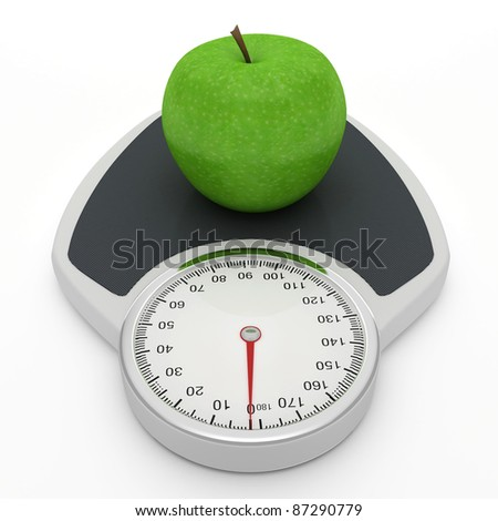 Scales and apple - symbolize the diet as a way to lose weight. - stock photo