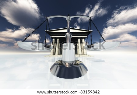Scales and classical building - stock photo