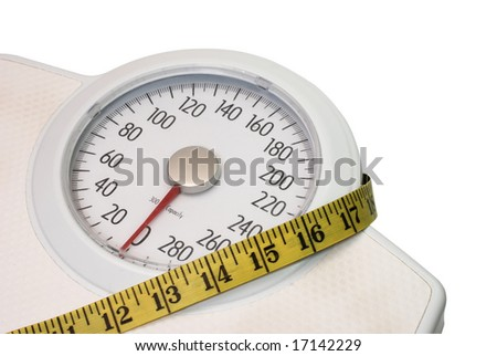 Scales and tape measure isolated on white background with clipping path. - stock photo