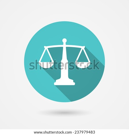 Scales balance icon in flat style. White silhouette of libra into green circle - stock photo