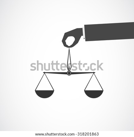 scales in hand icon - stock photo