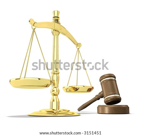 Scales of justice and gavel on white background that allows for copyspace. - stock photo