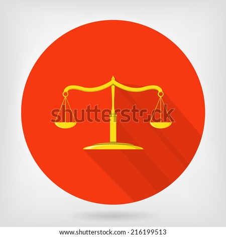 Scales of justice flat icon. Symbol of jurisprudence, truth and femida. Scales that weighed good and evil. - stock photo