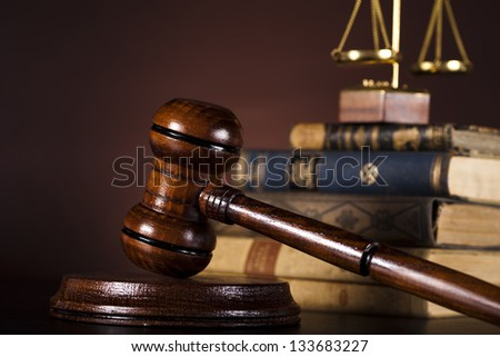 Scales of justice, gavel and books - stock photo