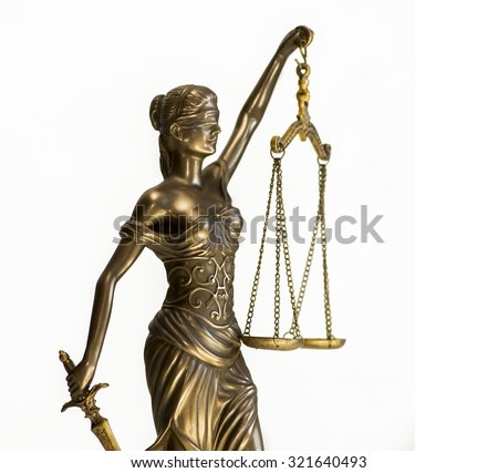Scales of justice law concept image isolated against white - stock photo