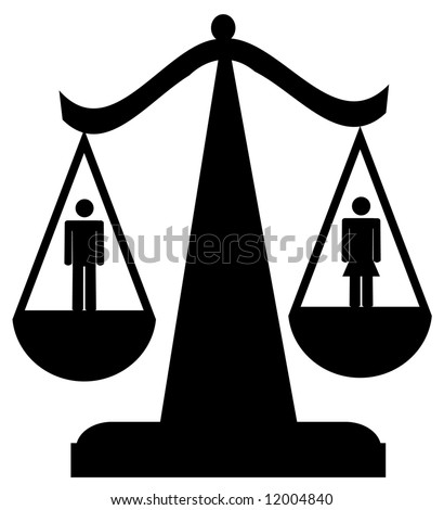 scales of justice with man and woman - sexual equality - stock photo
