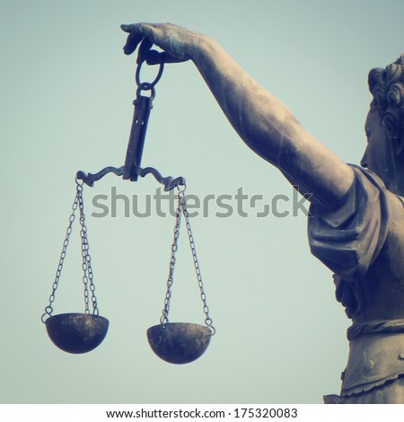 Scales of Justice with retro effect - stock photo