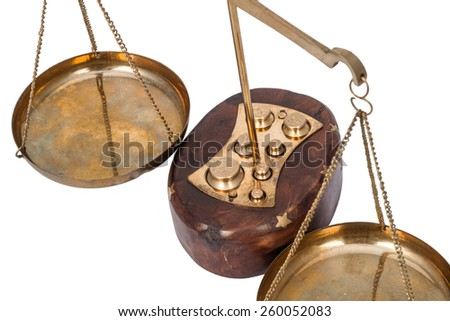 Scales on the beam with a set weight isolated on white background - stock photo