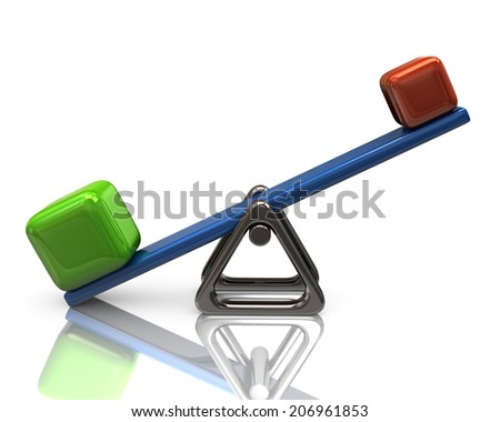 Scales with cubes - stock photo