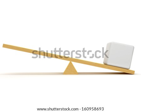 Scales with one white cube that creates an advantage in his side  - stock photo