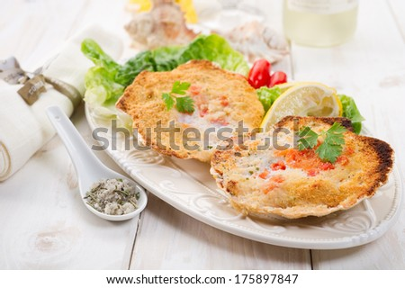 scallop au gratin - stock photo