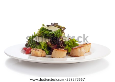 Scallop with butter, herbs flambe with white wine, isolated on white. - stock photo