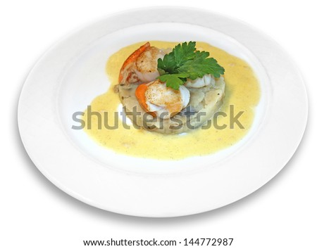 scallops in sauce with spices, on a white plate  - stock photo